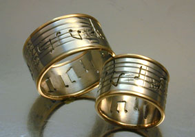 Two Tone Musical Score Rings