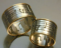 musical score rings platinum and 18kt gold